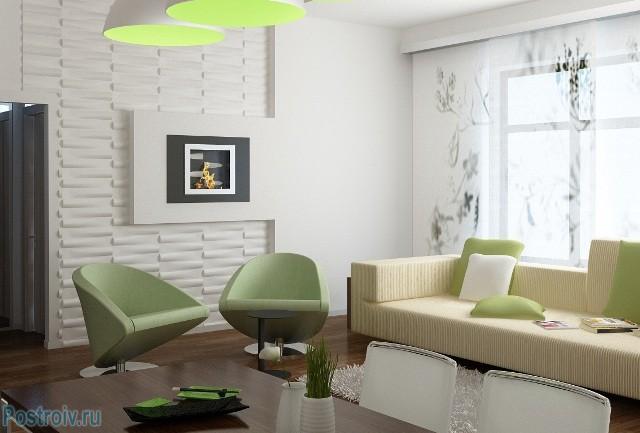 Минимализм интерьера гостиной с использованием салатовых цветов - Фото 08
