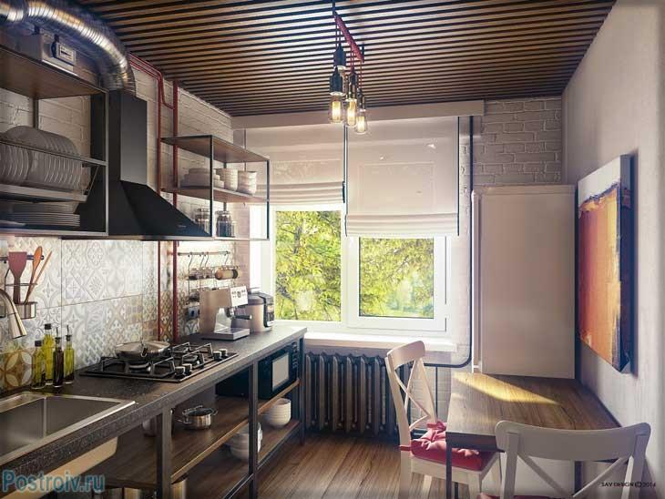 Дизайн маленькой кухни в стиле лофт. На окнах римские шторы - Фото