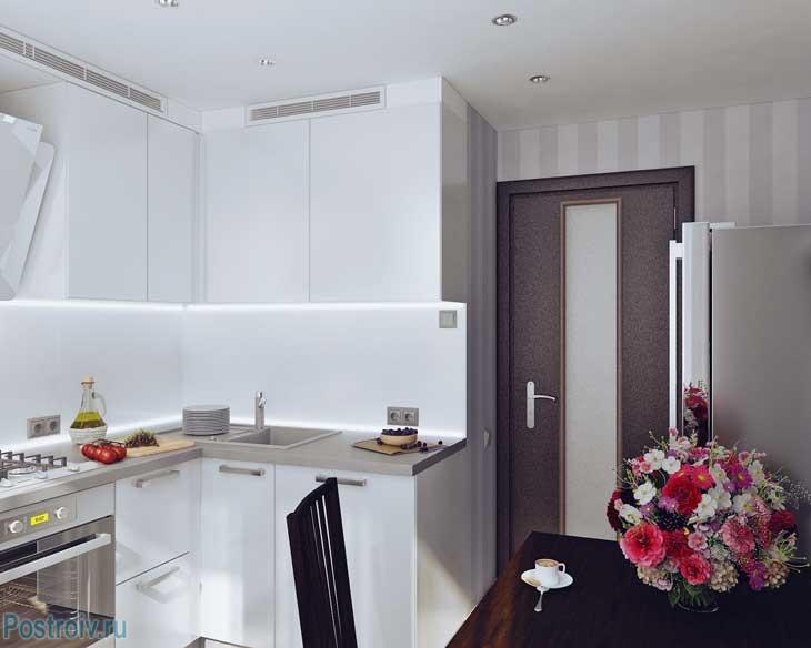Дизайн кухни 7,8,9 кв.м. в белом цвете - фото