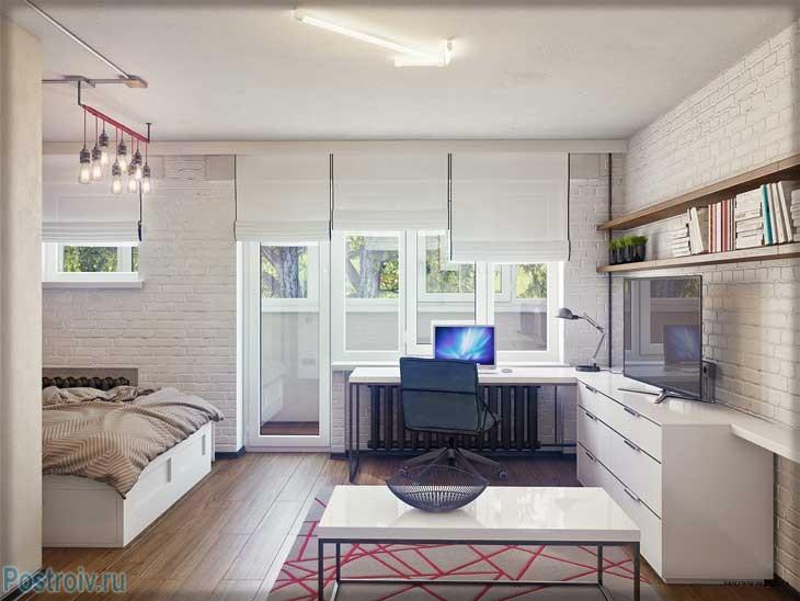 Дизайн зала в стиле лофт в однокомнатной квартире - Фото