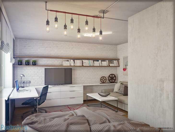 Оформление жилой комнаты в белых тонах - Фото