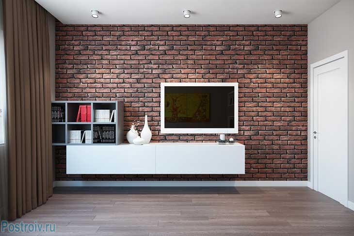Кирпичная стена в гостиной. Акцентная стена с ТВ - Фото