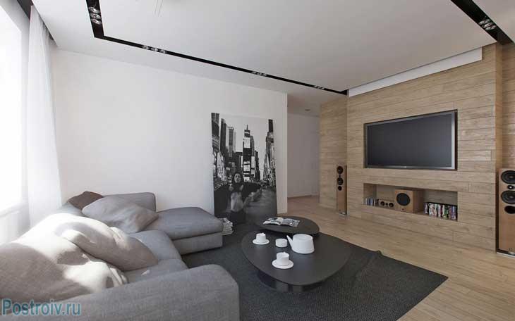 Гостиная в стиле минимализм. Фото