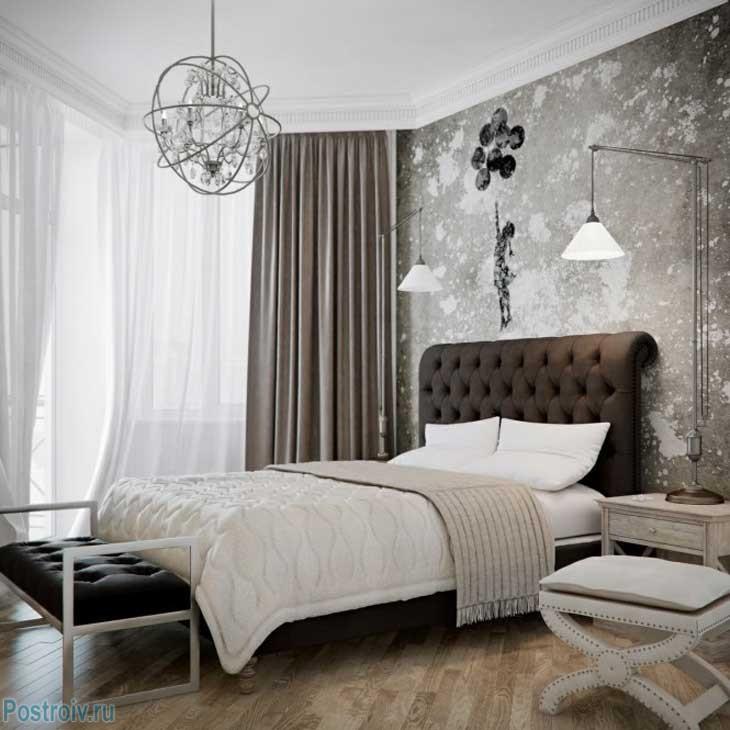 Уютная серая спальня. Фото