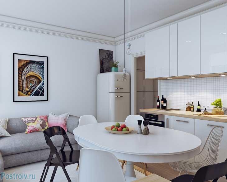 Современный скандинавский стиль в квартире 25 кв. м. Фото