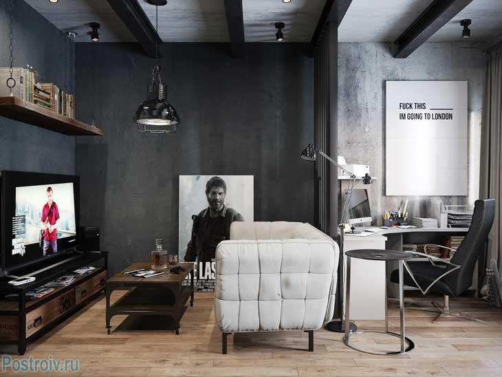Черный интерьер комнаты. Фото