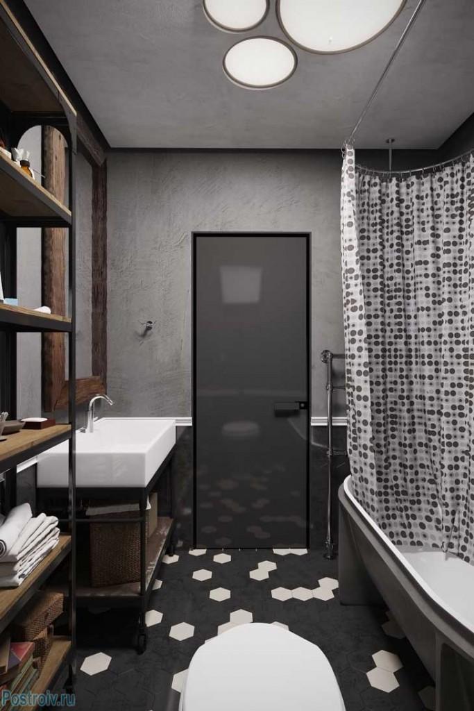 Серая ванная комната. Фото