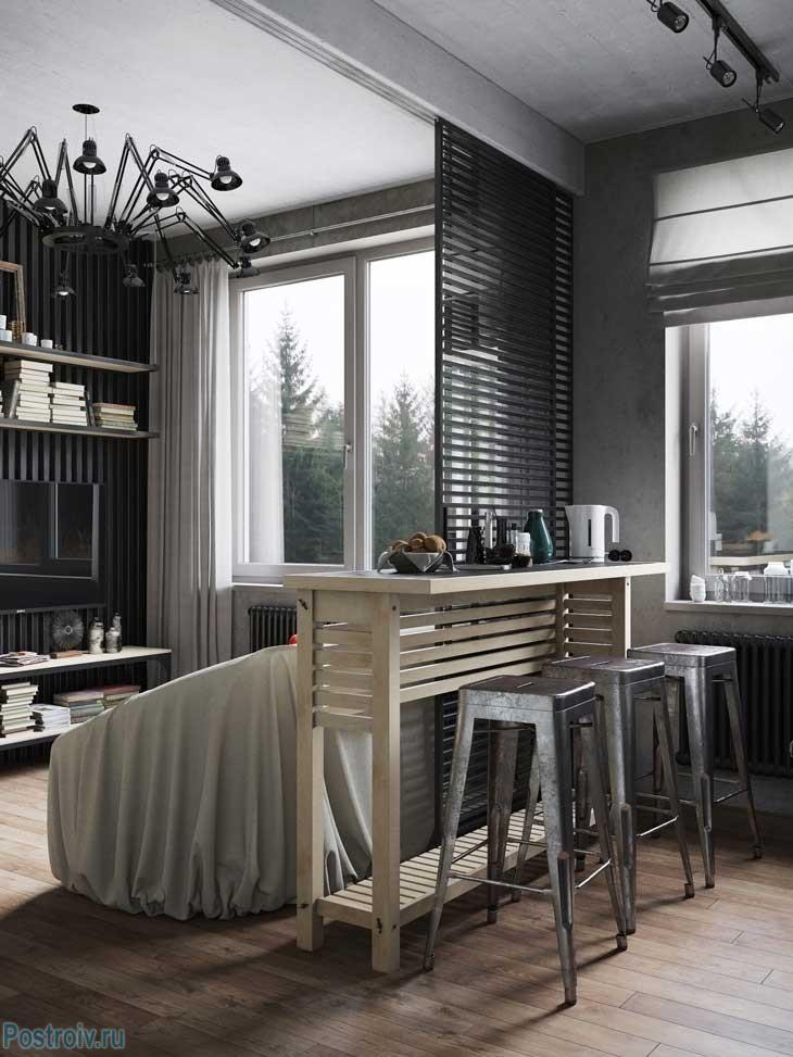 Кухня-гостиная в индустриальном стиле. Фото