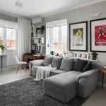 Серый цвет в однокомнатной квартире. Фото