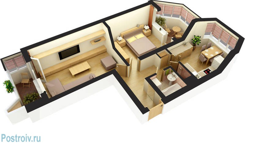 дизайн 2х комнатной студии 46 метров- дизайн 2х