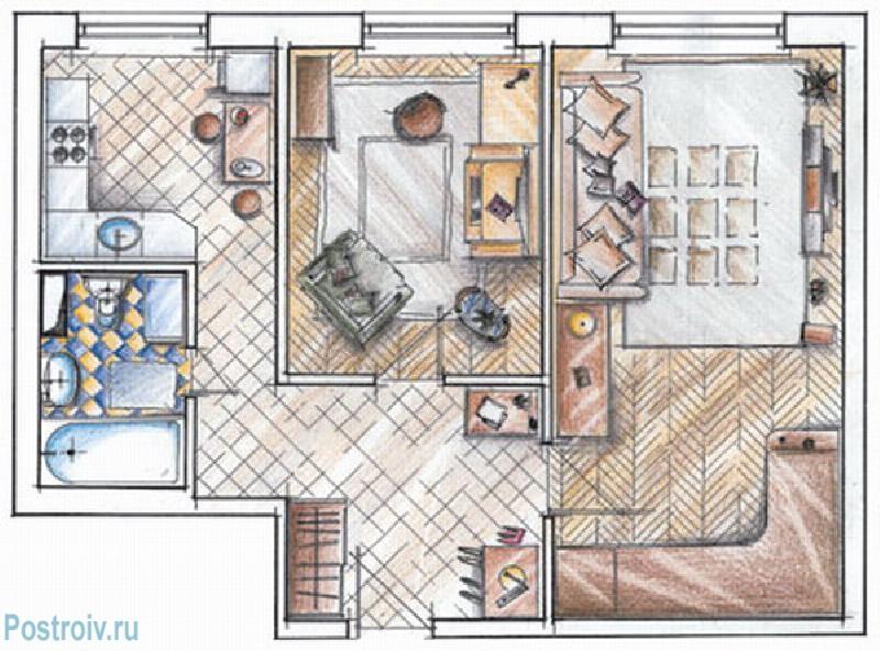 Перепланировка 3-х комнатной квартиры серии И-155н