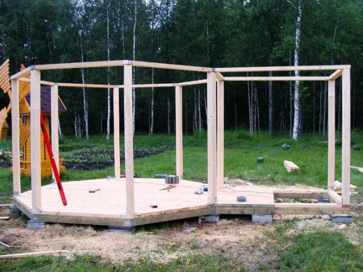 Строительство деревянной беседки с мангалом своими руками пошагово 30