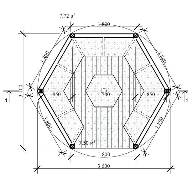 Беседка для дачи чертежи восьмигранная