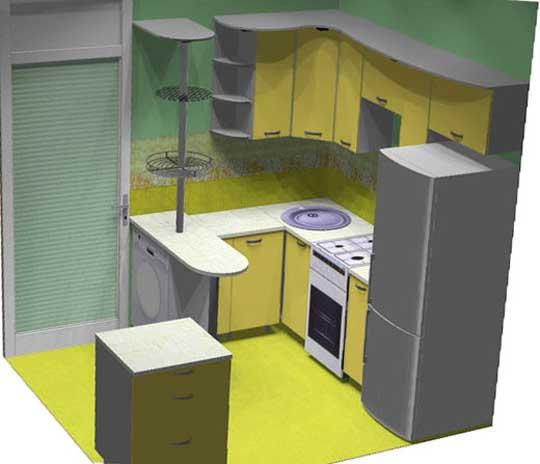 Барная стойка кухня дизайн 6 кв м с холодильником