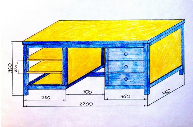 Металлический верстак в гараж своими руками чертежи