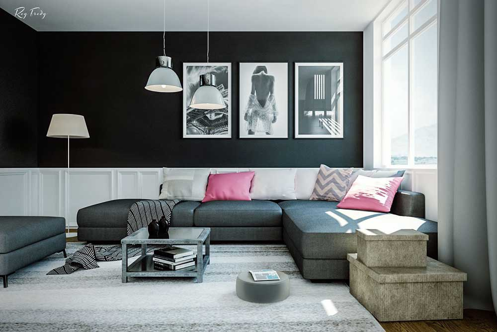 black-and-pink-living-room