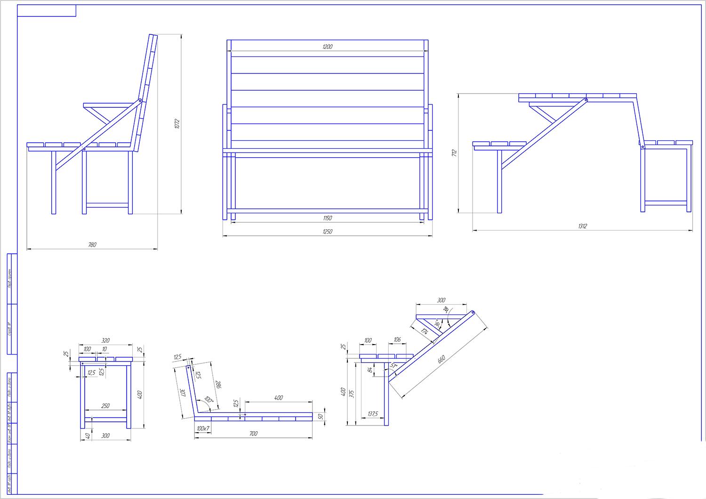 Скамья стол трансформер своими руками чертежи