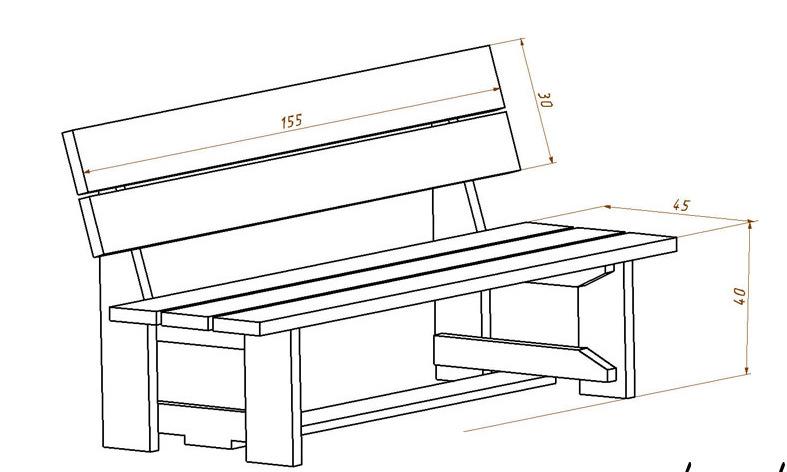Размеры скамейки со спинкой своими руками фото 796
