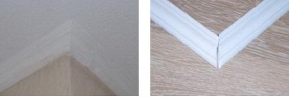 Как сделать внешний и внутренний угол потолочного плинтуса