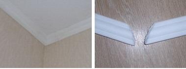 режем потолочный плинтус. как сделать угол