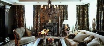 Классический интерьер гостиной. Темные цвета.