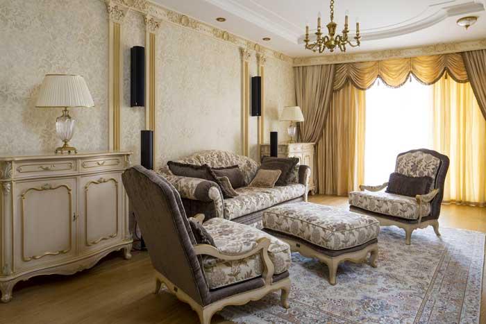 Интерьер светлой гостиной Ларина Дмитрия