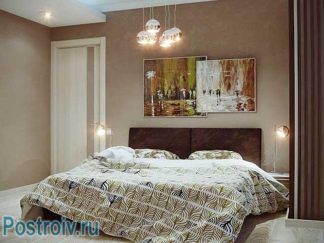 Третий вариант комбинирования цветов в спальне