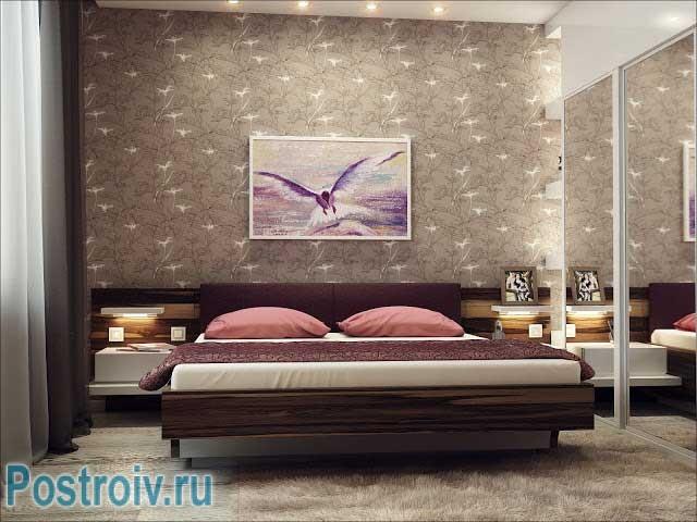 Четвертый вариант комбинации обоев в спальне