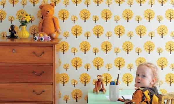 Обои для детской с желтым рисунком