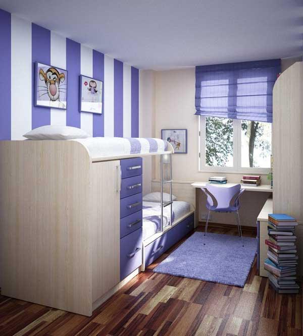 Обои с фиолетовыми и белыми полосками в детскую комнату