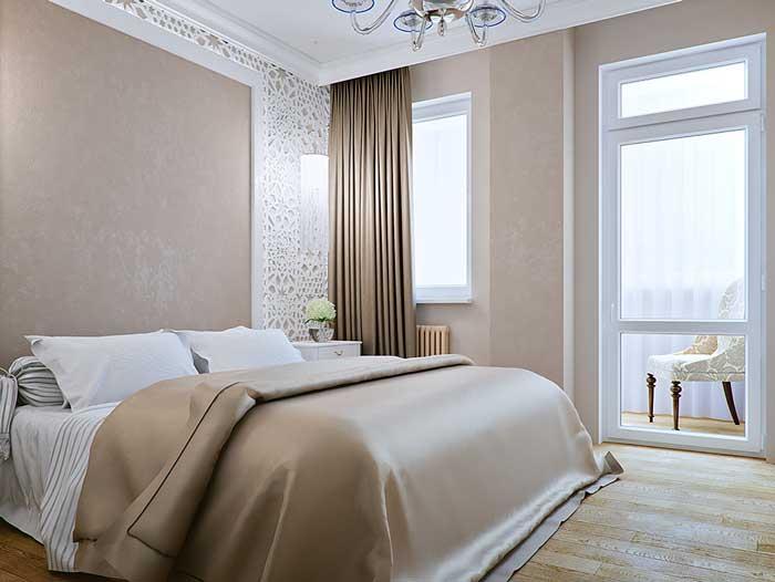 Интерьер современной спальни. Модные темные шторы 2014