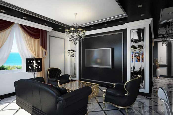 Черная мебель в интерьере гостиной кухни. Картины для интерьера