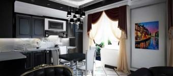 Интерьер кухни студии с преобладанием черного
