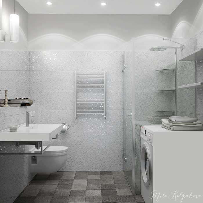 Дизайн маленькой ванной комнаты с душевой кабиной и подвесным унитазом