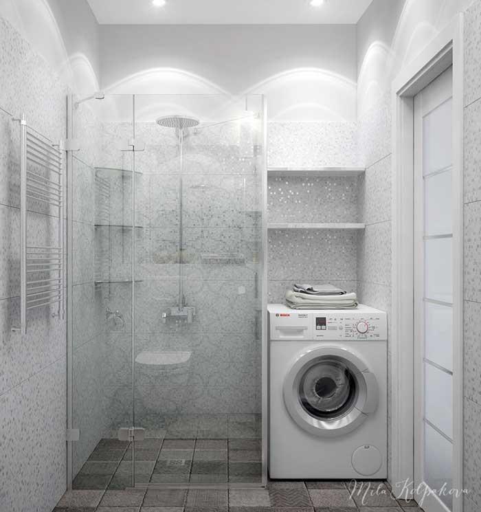 Оформление небольшой ванной комнаты белого цвета