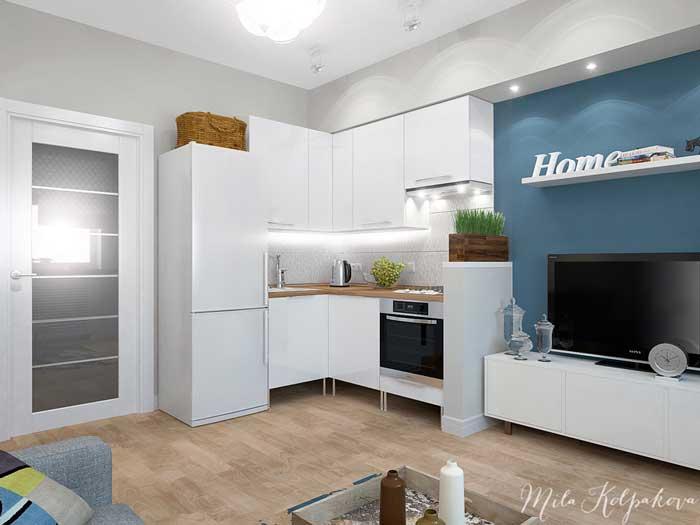 Интерьер небольшой гостиной-кухни белого цвета