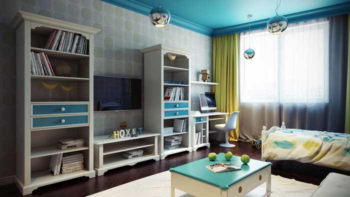 Детская комната для мальчика. На стенах флизелиновые обои, на полу темный паркет
