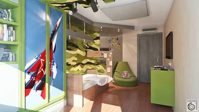 Детская комната для мальчика 10, 11, 12 лет в военном стиле.