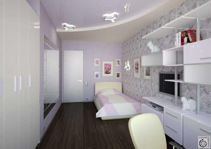 Дизайн проект детской комнаты для девочки. Фиолетовые оттенки. Комбинированные обои