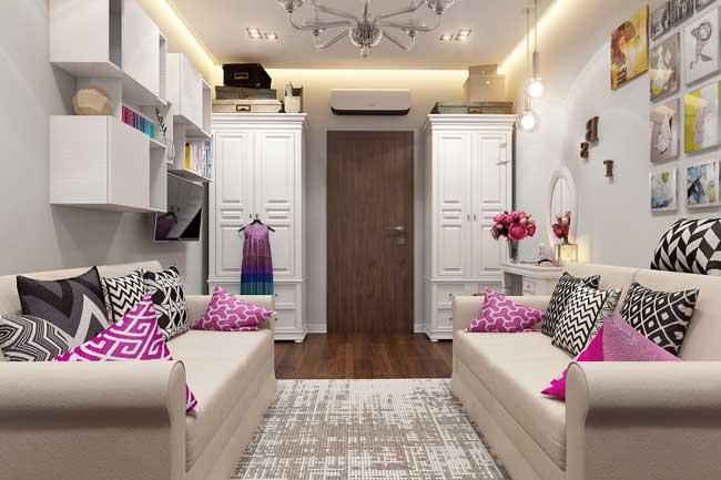 Дизайн гардеробной зоны в небольшой детской комнате