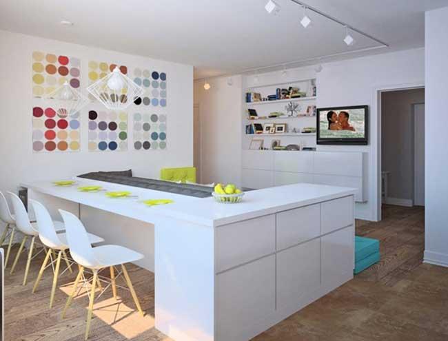 Оформление обеденной зоны на кухне гостиной в скандинавском стиле. Белая кухня