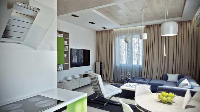 Оформление окна бежевыми шторами в современном дизайне однокомнатной квартиры