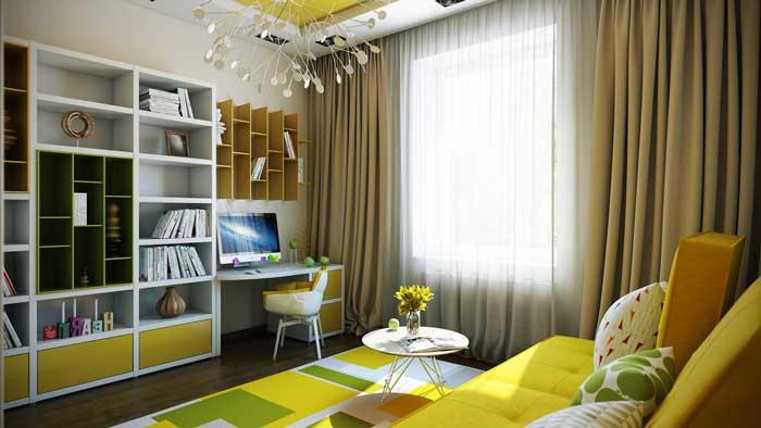Комната для подростка 16, 17 лет с корпусной мебелью и желтым диваном