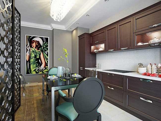 Кухня гостиная разделена декоративной ширмой. Паркет и плитка на кухне
