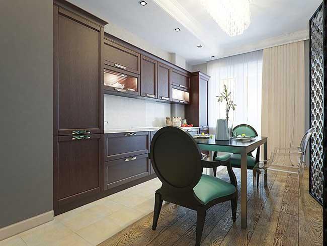 Обеденная зона на кухне. Кухня коричневого цвета