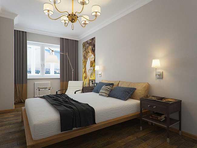 Дизайн спальни в стиле минимализм.  Стены в спальне серого цвета