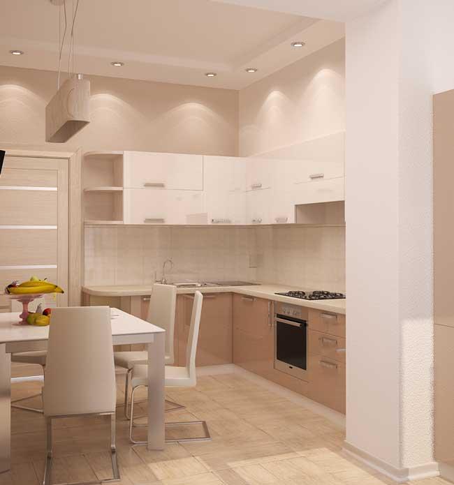 Дизайн кухонного гарнитура в маленькой бежевой кухне
