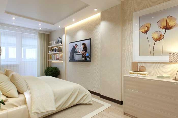 Дизайн освещения спальни. Двухуровневый потолок из гипсокартона