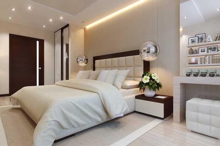 Идея спальни для молодых людей. Большое изголовье кровати