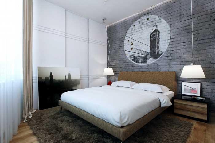 Дизайн спальни для молодого мужчины. Серый цвет - основной